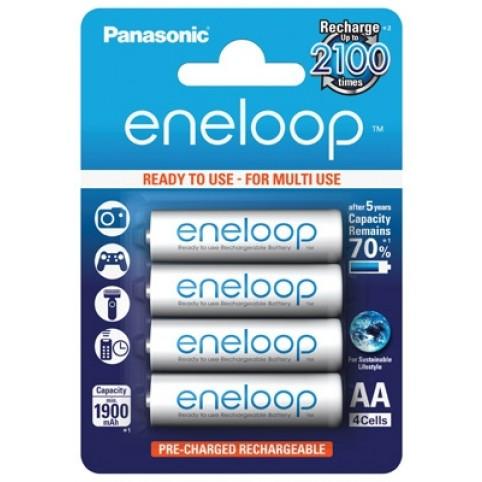 Panasonic eneloop Akku AA Mignon LR6 NiMH vorgeladen 1.900mAh im 4er Blister