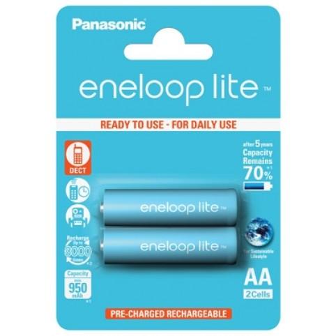 Panasonic eneloop lite Akku AA Mignon LR6 NiMH vorgeladen für DECT 950mAh im 2er Blister