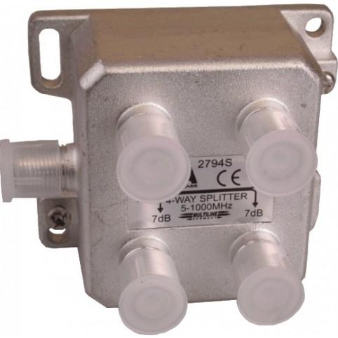 BK-Verteiler, 4-fach mit vertikalen Anschlüssen 5-1000 MHz