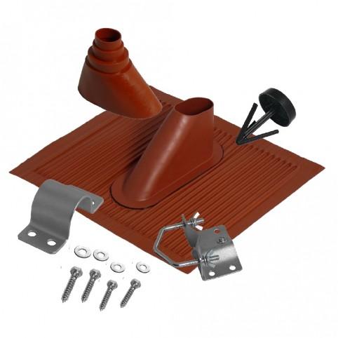 A.S.SAT universal Alu-Dachziegelset für Masten von Ø 60 mm ziegelrot