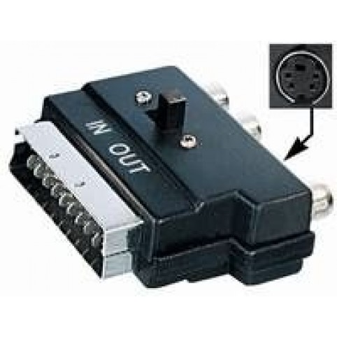 Scartadapter Stecker <> 3x Cinchbuchse 1x SVHS-Buchse IN/OUT schaltbar