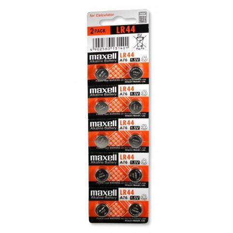 MAXELL Alkaline Knopfzelle LR44 10er Pack im 5x2 Bliste