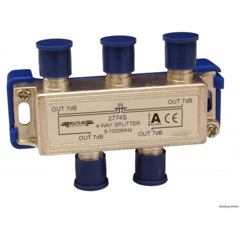 SAT- Verteiler 4-fach 5-2300 MHz 9-11dB Verteildämpfung
