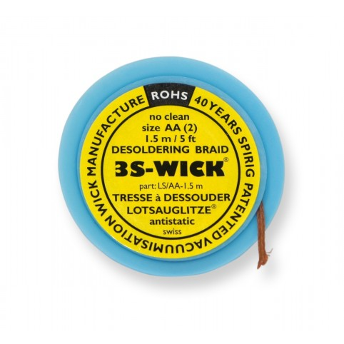 Spirig 3S-Wick Lotsauglitze 1,5 mm breit 1,5 m lang auf Antistatikspule gelb