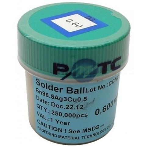 BGA Lötkugeln für Reballing bleifrei Sn96.5Ag3.0Cu0.5 0.60 mm 250000 Stück