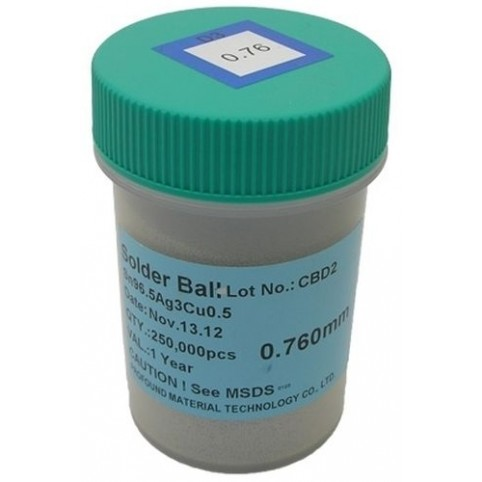 BGA Lötkugeln für Reballing bleifrei Sn96.5Ag3.0Cu0.5 0.76 mm 250000 Stück