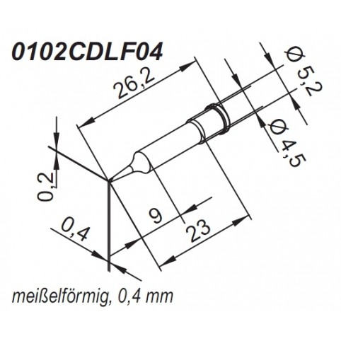 ERSA ERSADUR Lötspitze für i-Tool gerade meißelförmig 0,4 mm