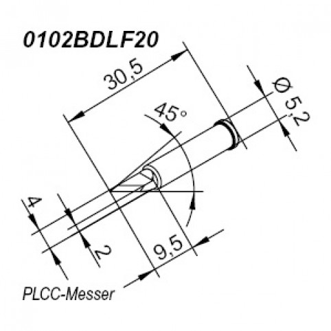ERSA ERSADUR Lötspitze für i-Tool gerade PLCC-Messer 2,0 mm