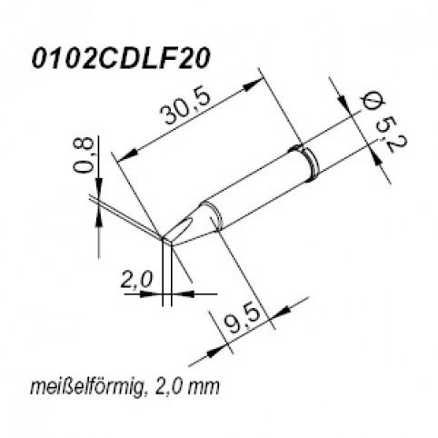 ERSA ERSADUR Lötspitze für i-Tool gerade meißelförmig 2,0 mm