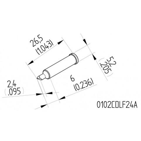 ERSA High-Performance-Lötspitze für i-Tool gerade meißelförmig asymmetrisch 2,4 mm