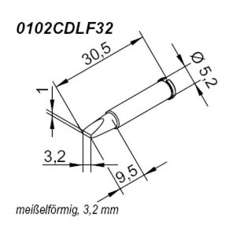 ERSA ERSADUR Lötspitze für i-Tool gerade meißelförmig 3,2 mm