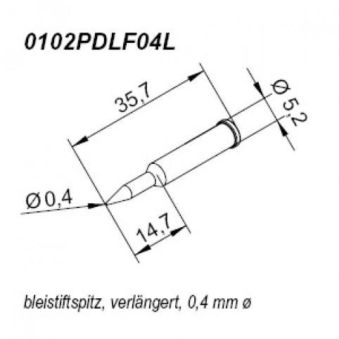ERSA ERSADUR Lötspitze für i-Tool gerade bleistiftspitz verlängert 0,4 mm