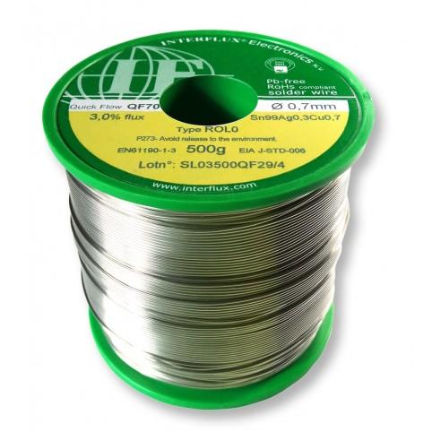 Interflux Lötdraht QF70 Sn99Ag0,3Cu0,7 FM 3,0% ROL0 0,7mm auf 500g Spule