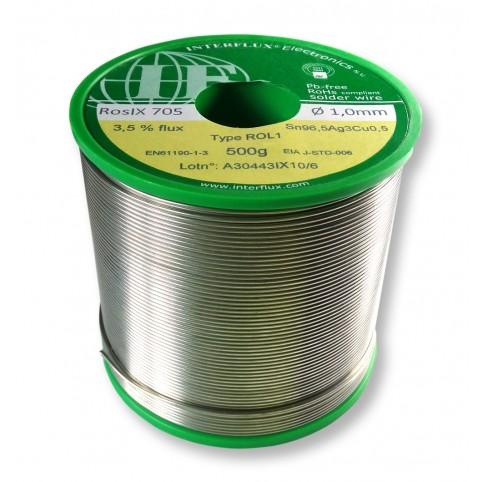 Interflux Lötdraht RosIX 705 Sn96,5Ag3Cu0,5 FM 3,50% 1,0mm auf 500g Spule