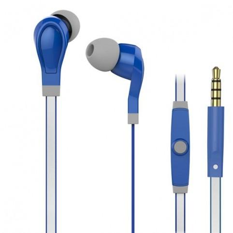 Maxell BRIGHT SOUNDS In-Ear Ohrhörer mit reflektierenden Kabel und Mikrofon blau