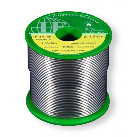 Interflux Lötdraht IF14-16 Sn96,5Ag3Cu0,5 FM 1,60% REL0 1,5mm auf 500g Spule