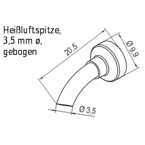 ERSA Heißluftdüse für i-Tool AIR S mit 3,5 mm gebogen