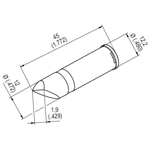 ERSA ERSADUR Lötspitze für i-Tool HighPower gerade meißelförmig 10,9 mm asymmetrisch 0242CDLF109A