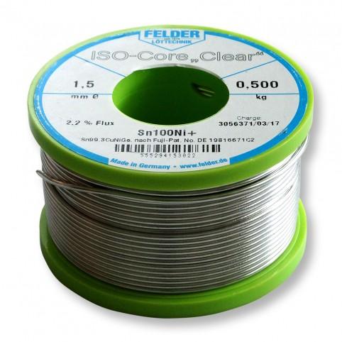 ISO-Core Lötdraht Clear Sn99,3CuNiGe 1,5mm auf 500g Spule