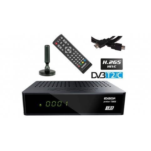 Set: Edision Proton T265 LED HD DVB-T/T2/C Receiver HEVC H.265 + Antenne + HDMI Kabel