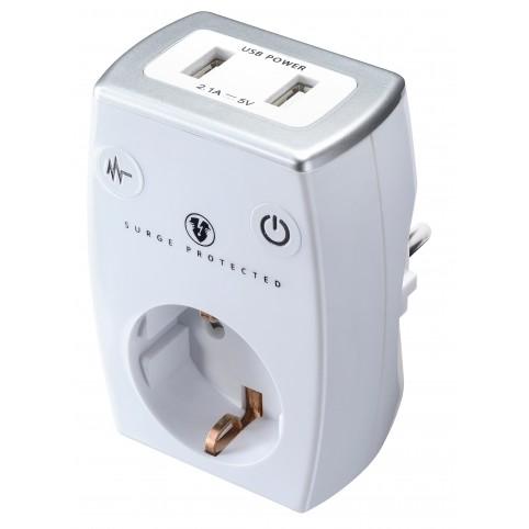 Masterplug Schuckosteckdose mit Überspannungsschutz, 2 x USB weiss