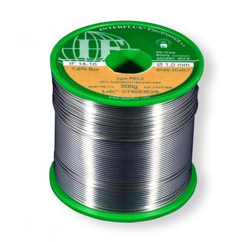 Interflux Lötdraht IF14-16 Sn99,3Cu0,7 FM 1,60% REL0 1mm auf 500g Spule