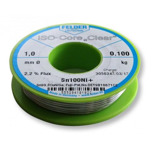 ISO-Core Lötdraht Clear Sn99,3CuNiGe 1,0mm auf 100g Spule