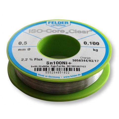 ISO-Core Lötdraht Clear Sn99,3CuNiGe 0,5mm auf 100g Spule