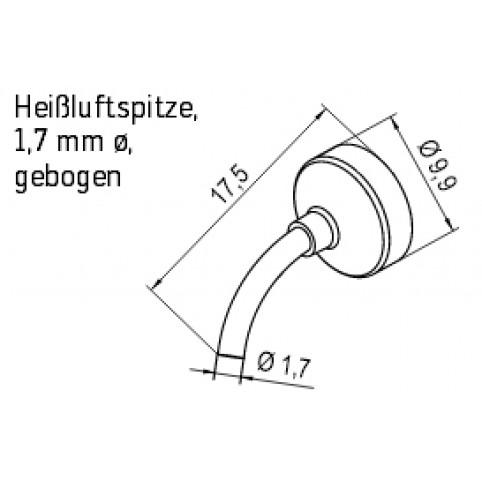 ERSA Heißluftspitze für i-Tool AIR S mit 1,7 mm gebogen