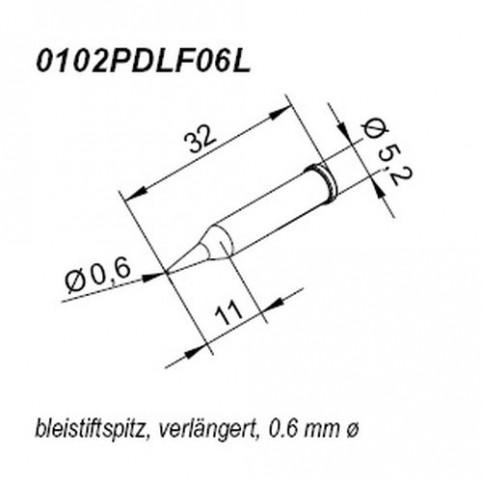 ERSA ERSADUR Lötspitze für i-Tool gerade bleistiftspitz 0,6 mm verlängert