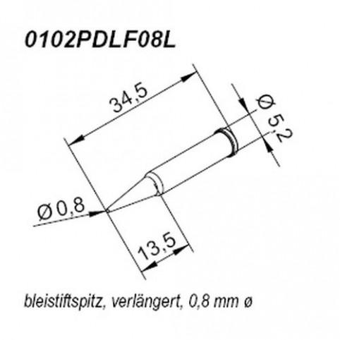 ERSA ERSADUR Lötspitze für i-Tool gerade bleistiftspitz 0,8 mm verlängert
