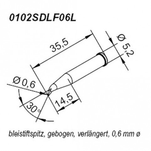 ERSA ERSADUR Lötspitze für i-Tool verlängert gebogen bleistiftspitz 0,6 mm
