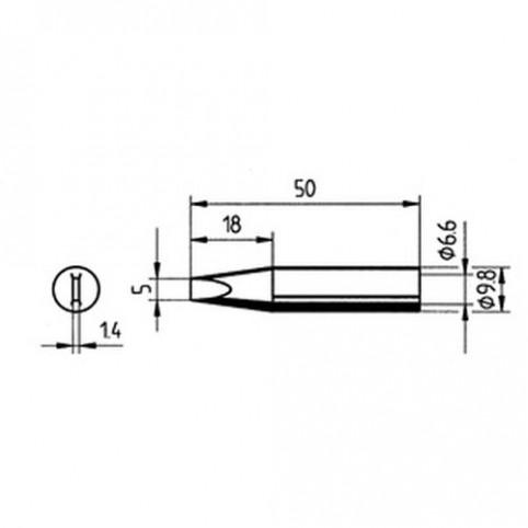 ERSA Lötspitze gerade meißelförmig 5 mm für RDS80/Analog60/Multi-TC uvm