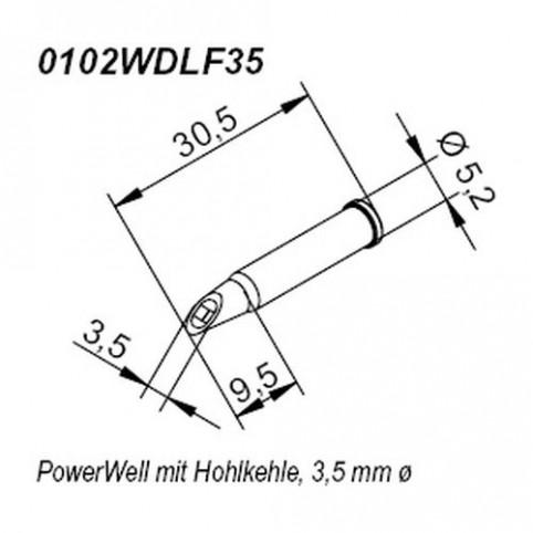 ERSA ERSADUR Lötspitze für i-Tool Power Well mit Hohlkehle gerade 3,5 mm