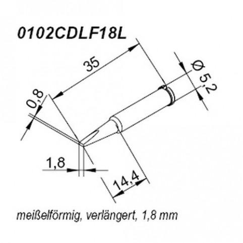 ERSA ERSADUR Lötspitze für i-Tool gerade meißelförmig 1,8 mm verlängert