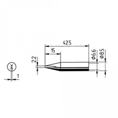 ERSA Lötspitze gerade meißelförmig 2,2 mm für RDS80/ANALOG60/Multi-TC uvm