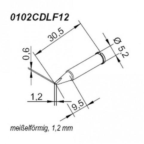 ERSA ERSADUR Lötspitze für i-Tool gerade meißelförmig 1,2 mm