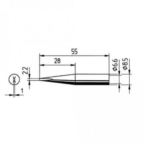 ERSA Lötspitze gerade verlängert meißelförmig 2,2 mm für RDS80/ANALOG 60