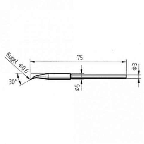 ERSA Lötspitze gebogen verstärkt bleistiftspitz 0,6 mm für Micro-Tool uvm