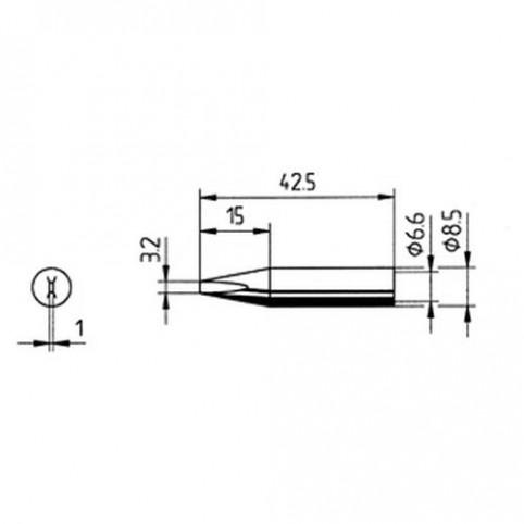 ERSA Lötspitze gerade meißelförmig 3,2 mm für RDS80/ANALOG60/Multi-TC