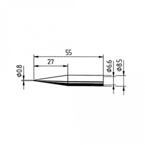 ERSA Lötspitze gerade verlängert bleistiftspit, 0,8 mm für RDS80/ANALOG60