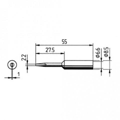 ERSA Lötspitze gerade verlängert meißelförmig 2,2 mm für RDS80 uvm.