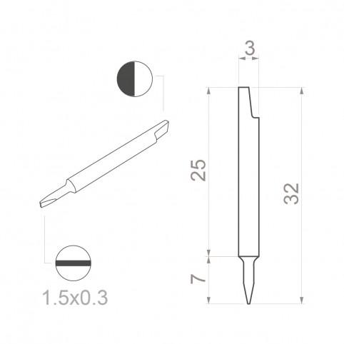Bernstein Keramik-Klinge (Bit) 1,50 x 0,30 mm