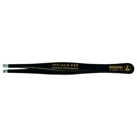 Bernstein ESD SMD-Pinzette 120 mm gerade mit Greifmulde Ø 0,8 mm 3,0 mm breit