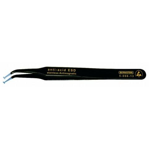 Bernstein SMD-Pinzette 120 mm 30° abgewinkelt 2,5 mm breit mit ESD-Beschichtung