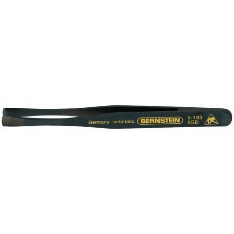 Bernstein Kunststoff-Pinzette 120 mm gerade flach breite Spitzen leitfähig