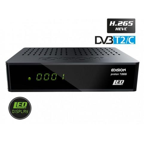 Edision Proton T265 LED, DVB-T2/C Receiver, HEVC (H.265), Full HD, FTA, SCART, S/PDIF, USB, LED Display