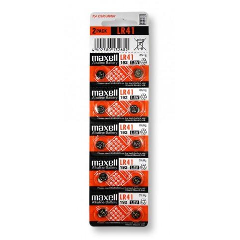 MAXELL Alkaline Knopfzelle LR41 10er Pack im 5x2 Blister