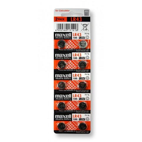 MAXELL Alkaline Knopfzelle LR43 10er Pack im 5x2 Blister