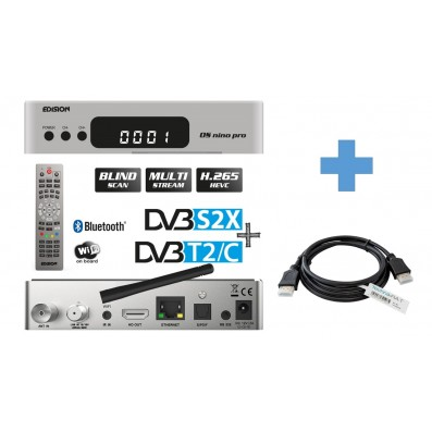 EDISION OS NINO PRO Full HD Linux E2 Combo-Receiver H.265/HEVC Silber 1,5 m TechnikRat HDMI Kabel